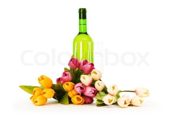 2028042-wine-and-flowers-isolated-on-the-white-background